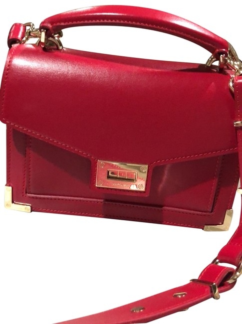 Item - Emily Small/Mini Satchel with Shoulder Strap Red/Burgundy Red/Burgundy Calfskin Leather Cross Body Bag