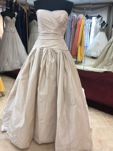 Anjolique Beige (Dark Champagne) Soft Taffeta Gown Modern Wedding Dress Size 12 (L)