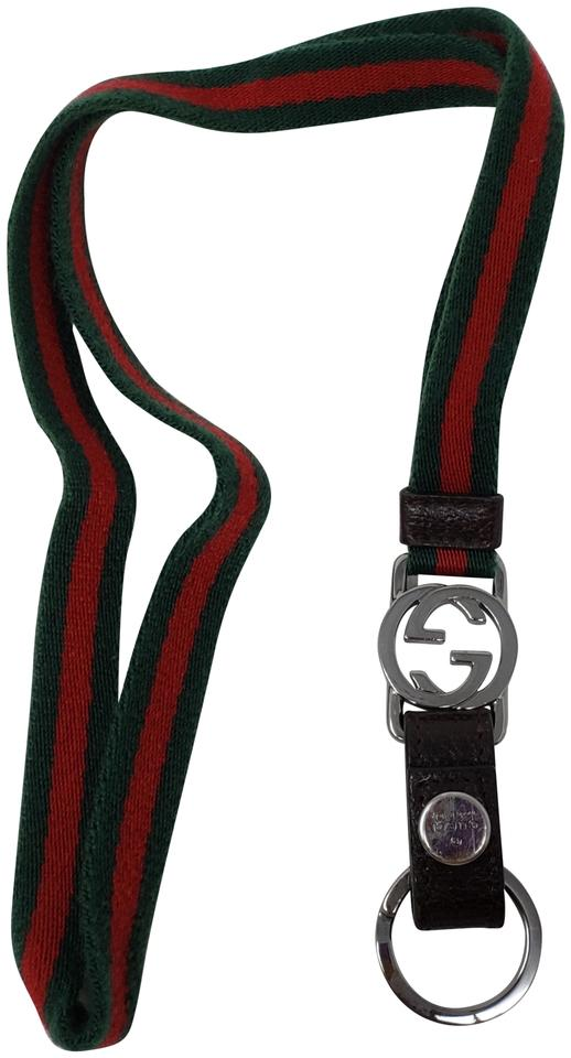 Gucci Multicolor Green Red Web Canvas Gg Charm Keychain Lanyard Belt 39%  off retail