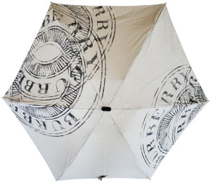Burberry Beige black nylon Burberry Kensington logo printed umbrella