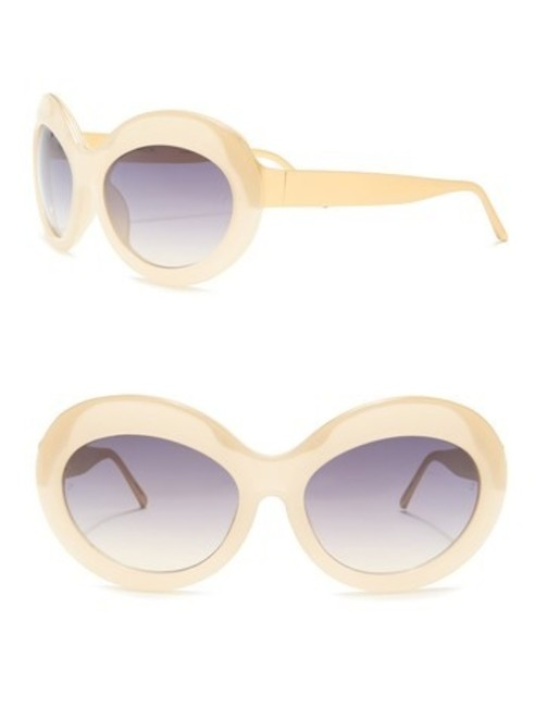 Linda Farrow Shell Light Gold Oversize Round Novelty Sunglasses Linda Farrow Shell Light Gold Oversize Round Novelty Sunglasses Image 1