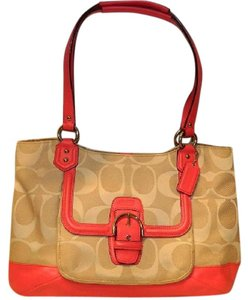 Coach New Shoulder Briefcase Hot Satchel in Light Khaki- Pomegranate (Hot Neon Pink Orange)