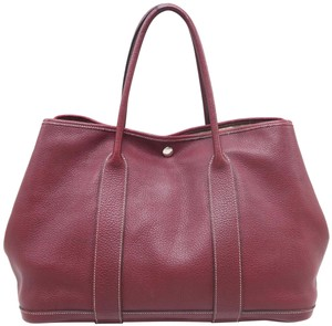 Hermès Clemence Garden Party Tote in WineRed