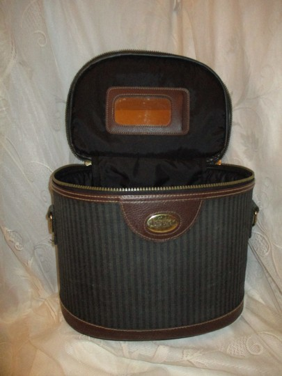 Pierre Cardin Vintage Cosmetic Oneam003 Striped brown, green & black Travel Bag Image 3