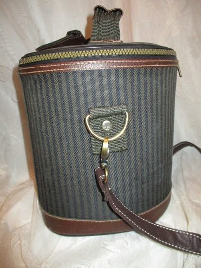 Pierre Cardin Vintage Cosmetic Oneam003 Striped brown, green & black Travel Bag Image 4