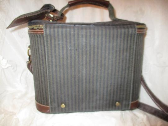 Pierre Cardin Vintage Cosmetic Oneam003 Striped brown, green & black Travel Bag Image 6