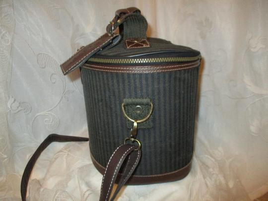 Pierre Cardin Vintage Cosmetic Oneam003 Striped brown, green & black Travel Bag Image 7