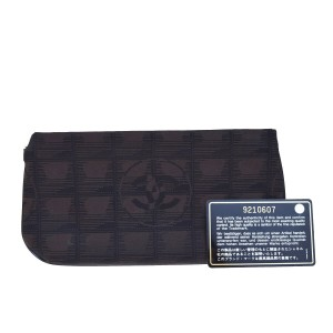 Chanel CHANEL CC Logo New Travel Line Cosmetic Pouch Jacquard Leather