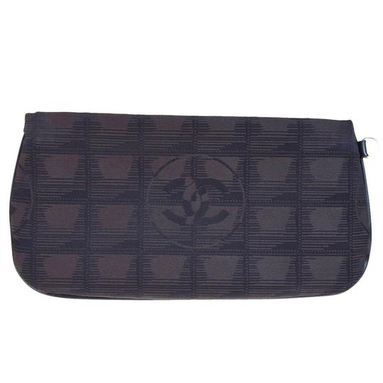 Chanel CHANEL CC Logo New Travel Line Cosmetic Pouch Jacquard Leather Image 2