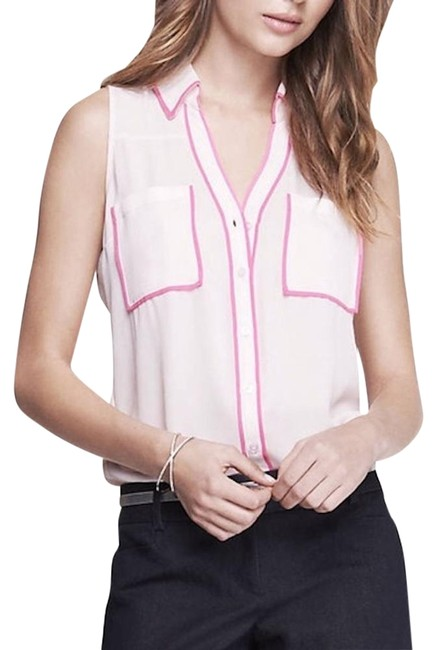 Express Pink Contrast Piping Sleeveless Portofino Blouse Button-down Top Size 2 (XS) Express Pink Contrast Piping Sleeveless Portofino Blouse Button-down Top Size 2 (XS) Image 1