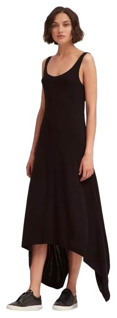 DKNY Black W Knit W/Handkerchief Hem Long Casual Maxi Dress Size 6 (S) DKNY Black W Knit W/Handkerchief Hem Long Casual Maxi Dress Size 6 (S) Image 1