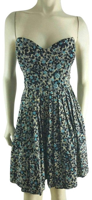 Tracy Reese Blue Strapless Polka Dotted Cotton Silk Mini Short Casual Dress Size 8 (M) Tracy Reese Blue Strapless Polka Dotted Cotton Silk Mini Short Casual Dress Size 8 (M) Image 1