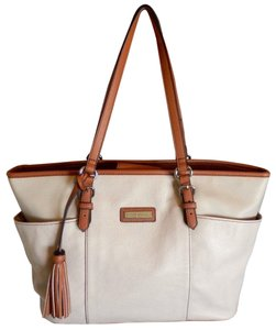 Tignanello Leather Tassels Neverfull Tote in Cream and taupe