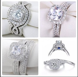 Fade Resistant Solid 925 Stamped Sterling Silver Cz Rings Sizes 5-10 Women's Wedding Band Set