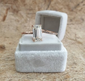 Rose Gold 3.60 Carats Diamond Set Emerald Cut Diamond Engagement Ring