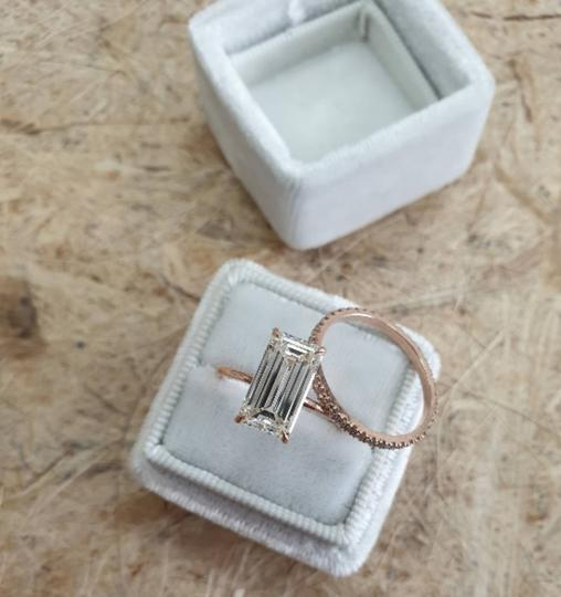 Rose Gold 3.60 Carats Diamond Set Emerald Cut Diamond Engagement Ring Image 2