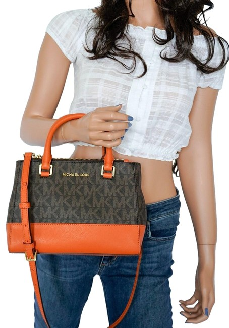 Michael Kors Shoulder XS Kellen Satchel Mk Brown Tangerine Pvc Leather Messenger Bag Michael Kors Shoulder XS Kellen Satchel Mk Brown Tangerine Pvc Leather Messenger Bag Image 1