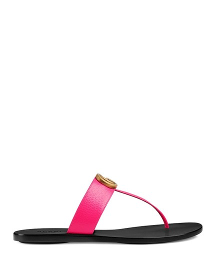 Gucci Thong With Double G Double G Marmont Double G Bright Pink Sandals Image 1