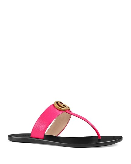 Gucci Thong With Double G Double G Marmont Double G Bright Pink Sandals Image 2