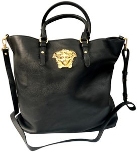 Versace Laptop Leather Tote in Black