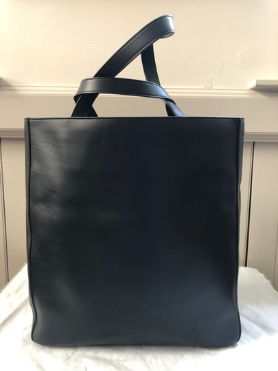 Saint Laurent Ysl Leather Laptop Tote in Black Image 1