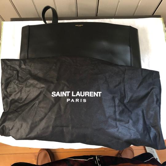 Saint Laurent Ysl Leather Laptop Tote in Black Image 7