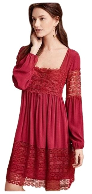 Item - Poppy (Mix Of Red and Pink More Like Red) Aveline Lace Mid-length Short Casual Dress Size 8 (M)