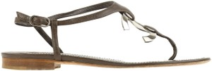 Chanel Logo Silver Hardware Leather Brown Sandals