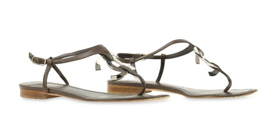 Chanel Logo Silver Hardware Leather Brown Sandals Image 1