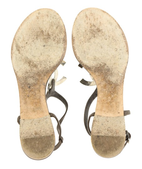 Chanel Logo Silver Hardware Leather Brown Sandals Image 10