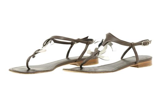 Chanel Logo Silver Hardware Leather Brown Sandals Image 3