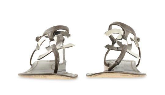 Chanel Logo Silver Hardware Leather Brown Sandals Image 4