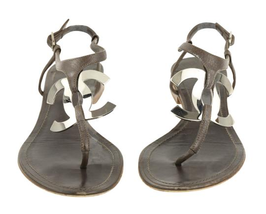Chanel Logo Silver Hardware Leather Brown Sandals Image 5