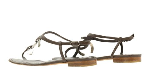 Chanel Logo Silver Hardware Leather Brown Sandals Image 6