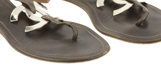 Chanel Logo Silver Hardware Leather Brown Sandals Image 7