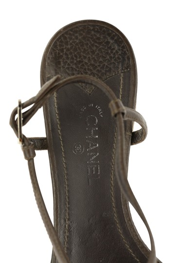 Chanel Logo Silver Hardware Leather Brown Sandals Image 9