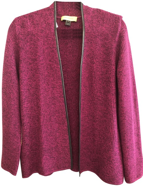 Item - Yellow Label Leather Trimmed Cardigan/Jacket Pink/Purple Sweater