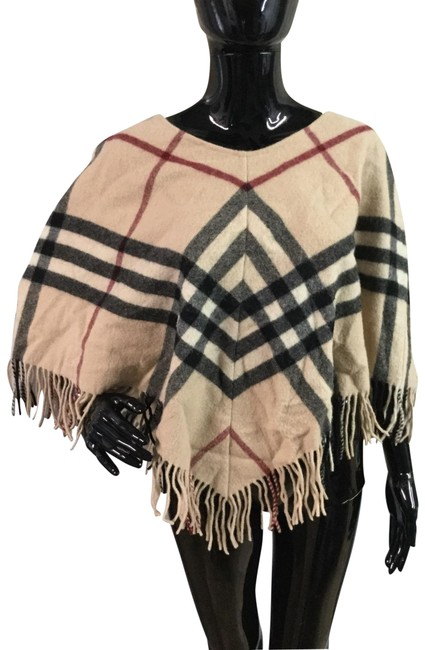 Item - Tan Black Red White Lambswool Supernova Check Poncho/Cape Size OS (one size)