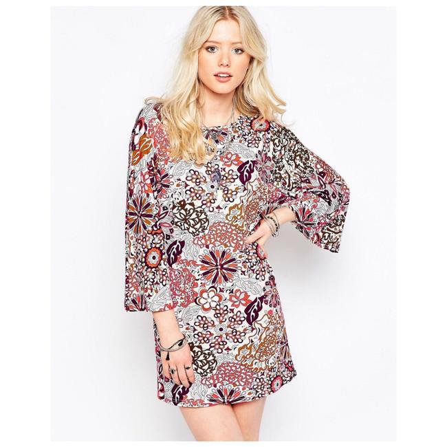 Item - Retro Style Floral Print Shift Short Casual Dress Size 6 (S)