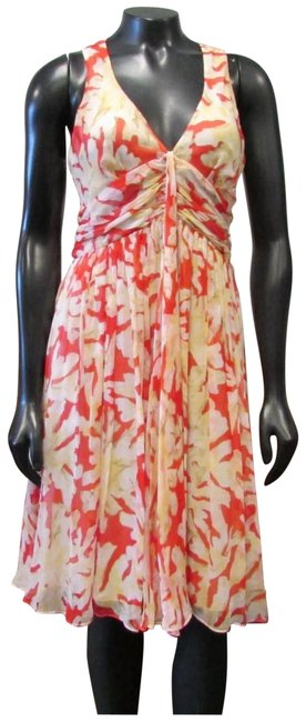 Item - Beige Red Day and Evening Flare Silk Mid-length Night Out Dress Size 6 (S)