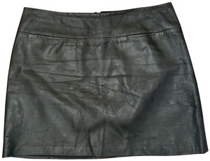 BCBG Paris Leather Lambskin Calfskin Mini Skirt Black