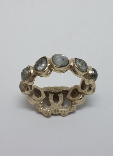 Chanel Chanel multicolored gold toned embellished CC ring Image 1