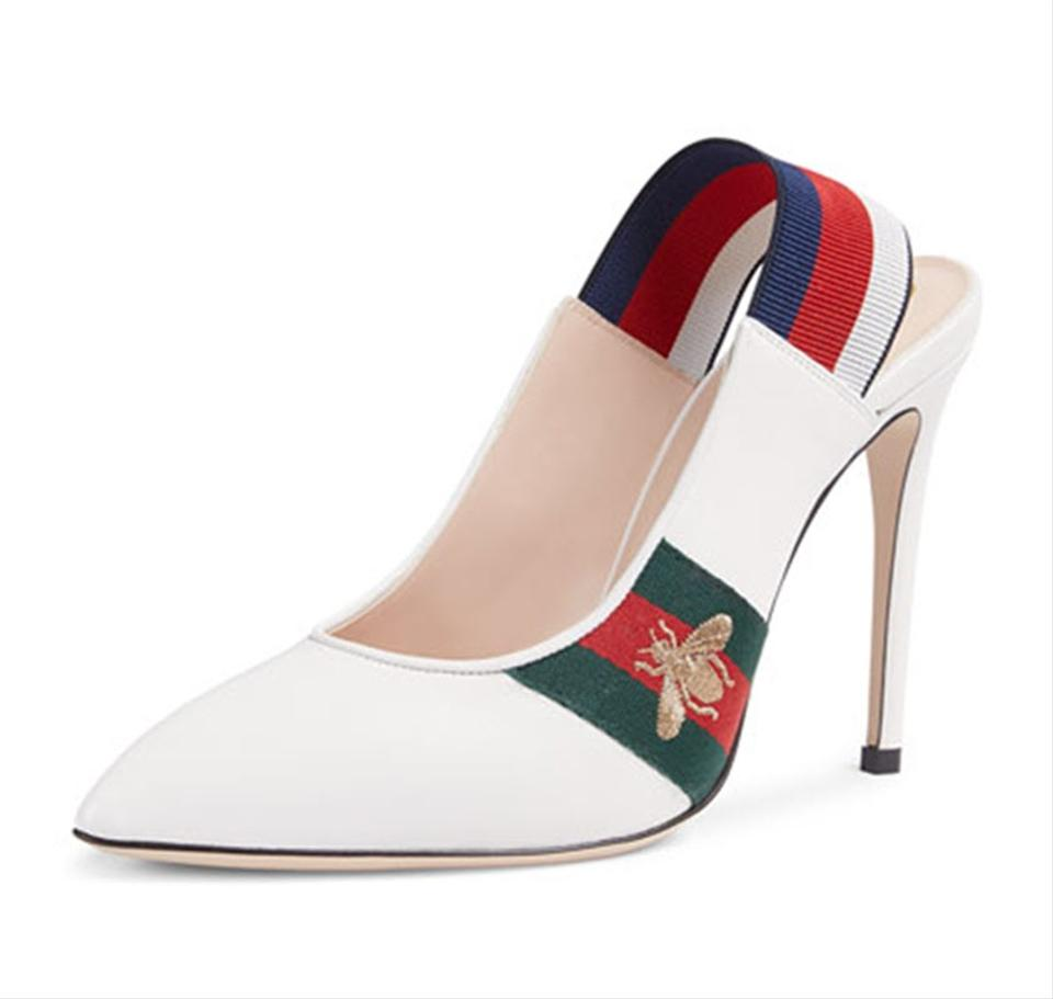 19be231560 Gucci White Sylvie Embroidered Bee Web Black Leather Slingback Pointed  Pumps Size EU 39 (Approx. US 9) Regular (M, B)