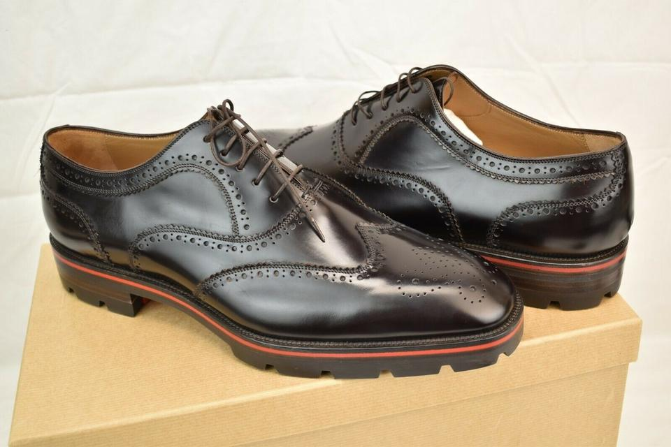 f76beb46742 Christian Louboutin Black Charlie Me Flat Moro Etalon Leather Wingtip  Brogue Oxfords 46 13 Shoes 35% off retail