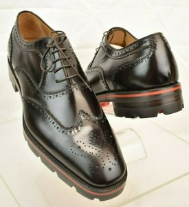 Christian Louboutin Black Charlie Me Flat Moro Etalon Leather Wingtip Brogue Oxfords 44 11 Shoes