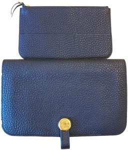 Hermes Hermes Dogon Wallet with Pouch Black Leather Gold Plated Buckle