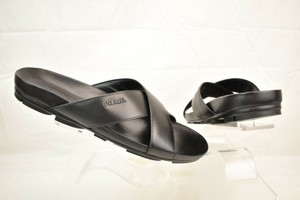Prada Black Leather Criss Cross Lettering Logo Flat Sandals 9.5 Us 10.5 Shoes