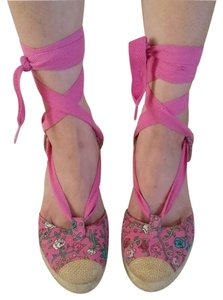 Betsey Johnson Floral Lace Up Pink Wedges