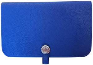 Hermès Hermes Dogon Duo Wallet with Pouch Electric Blue Togo Calfskin Leather