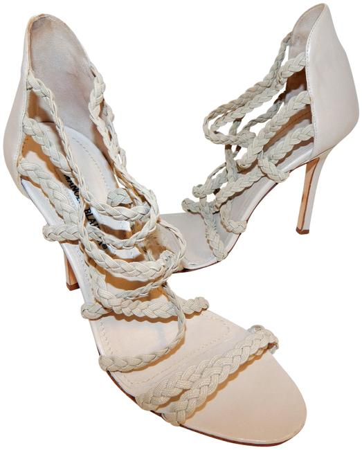 Item - Beige Leather Braided Elastic Heels Italy Pumps Size EU 38 (Approx. US 8) Regular (M, B)